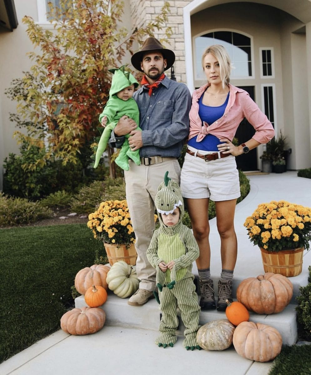 Kaila Walls' family dressed up as the characters from Jurassic Park for Halloween.