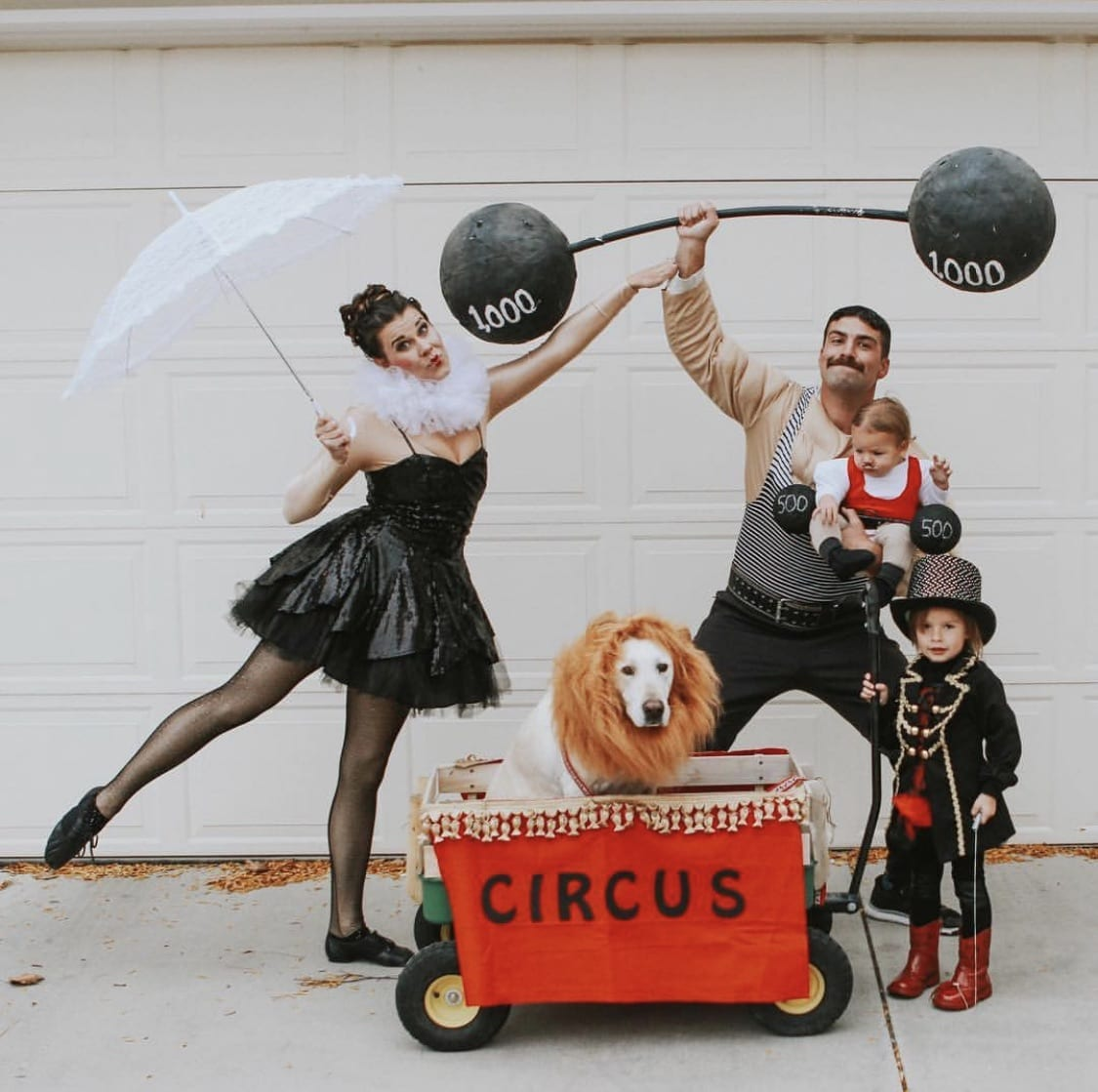 Family dressed up as circus characters for Halloween.