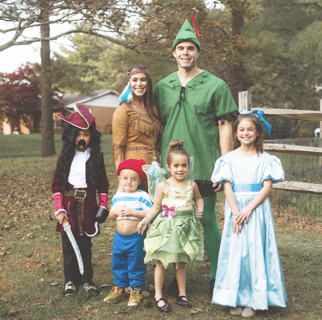 Family dressed up as the characters from Peter Pan for Halloween.