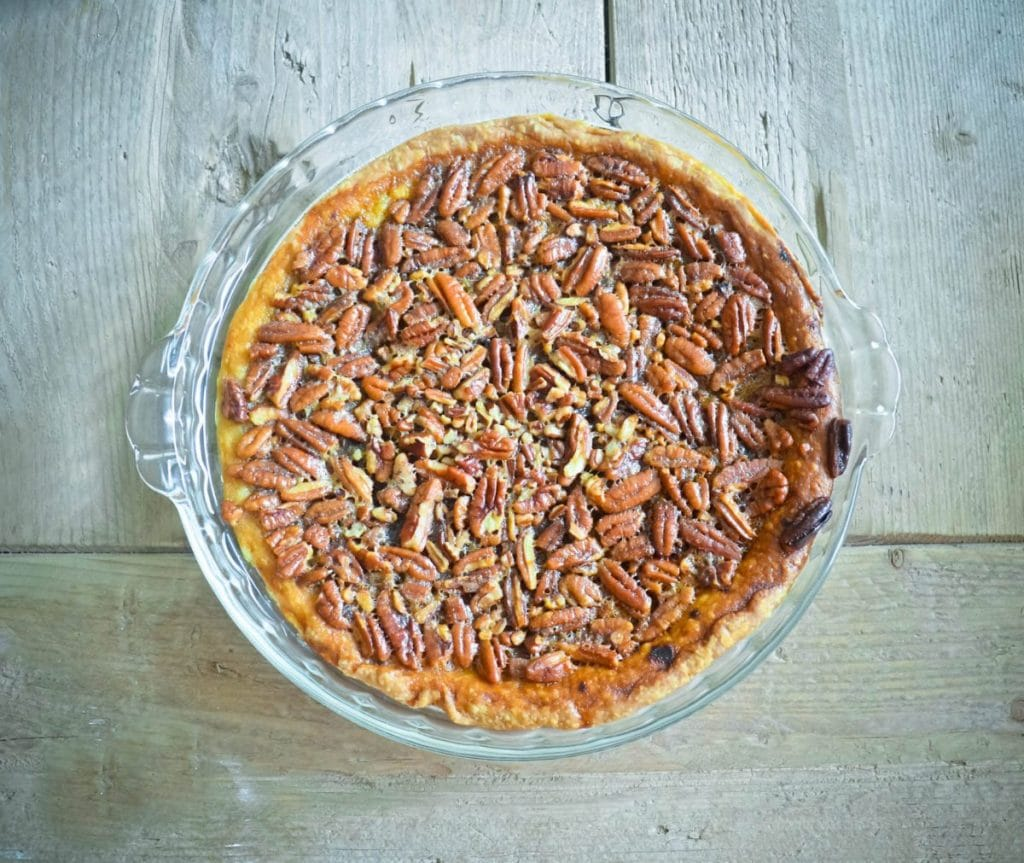 Thanksgiving Treats Recipe: (Mostly) Homemade Chocolate Bourbon Pecan Pie | Baby Chick