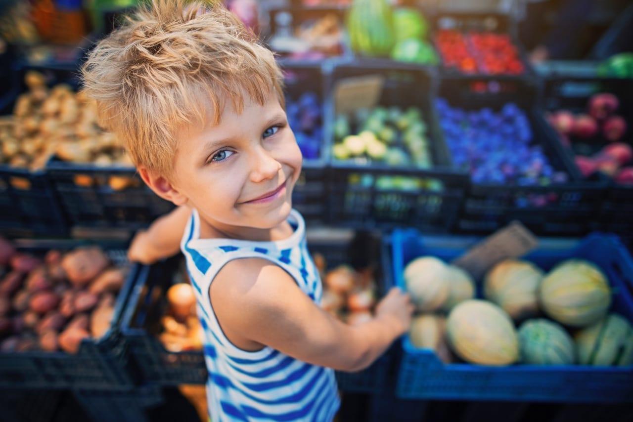 Little boy at the Italian farmer's market