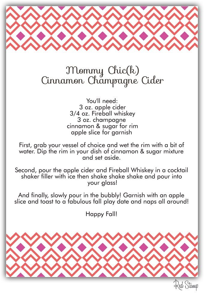 Mommy Chick Cinnamon Champagne Cider, Baby Chick, mommy cocktails, Fall play dates