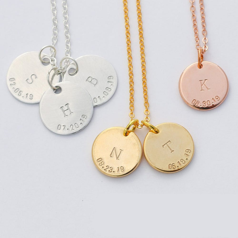 Personalized Rose Gold Initial Mommy Necklace Dainty Charm