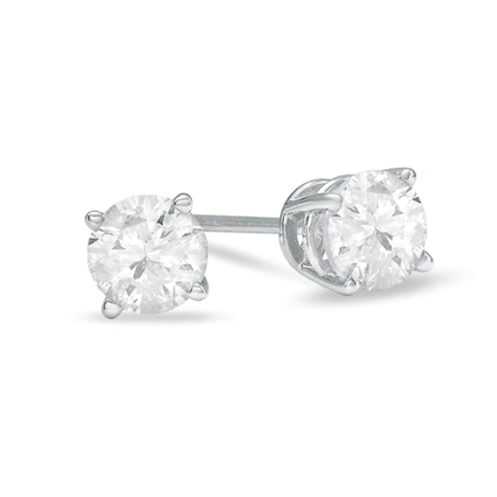 1 CT. T.W. Diamond Solitaire Stud Earrings in 14K White Gold