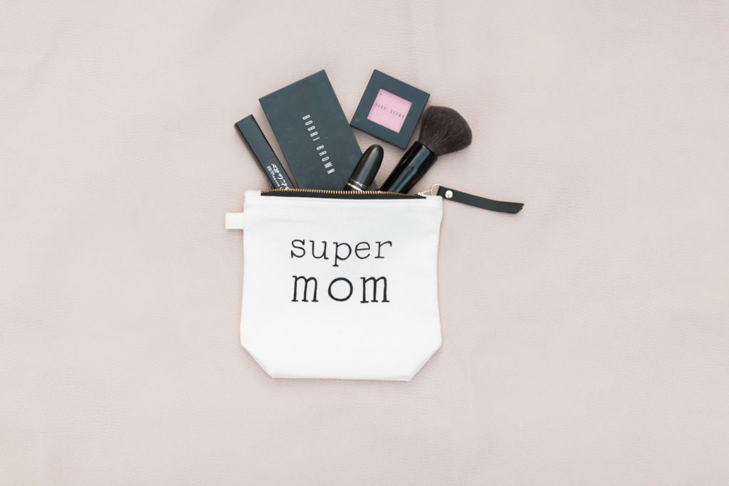 mother's day 2017 giveaway, makeup bag, super mom, design by rube