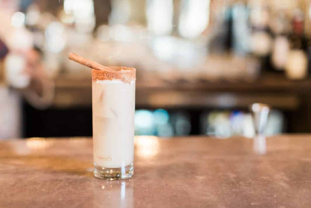 maple milk punch recipe, cocktail of the month, mocktail of the month, donut day, beavers on westheimer