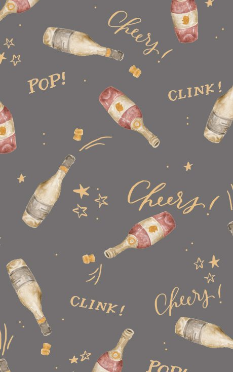 desktop wallpaper, download, new year, cheers, pop, fizz, clink, champagne, baby chick, half moon lettering