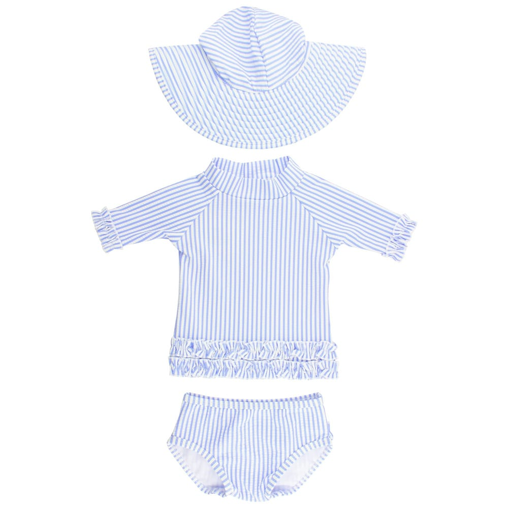 Seersucker Two-Piece Rashguard Swimsuit & Hat Set RUFFLEBUTTS