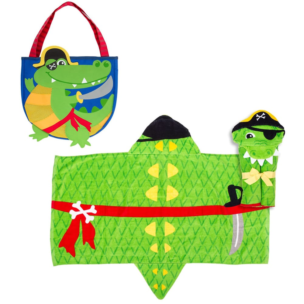 Alligator Beach Tote, Toys & Hooded Towel Set STEPHEN JOSEPH