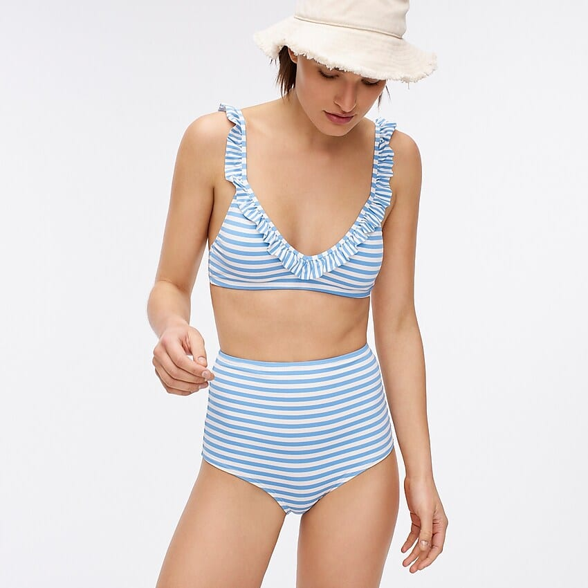 J. Crew Seamless high-waisted bikini bottom in stripe