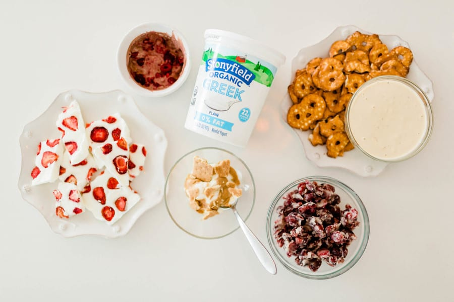 Delicious snacks made with yogurt for busy moms on the go.