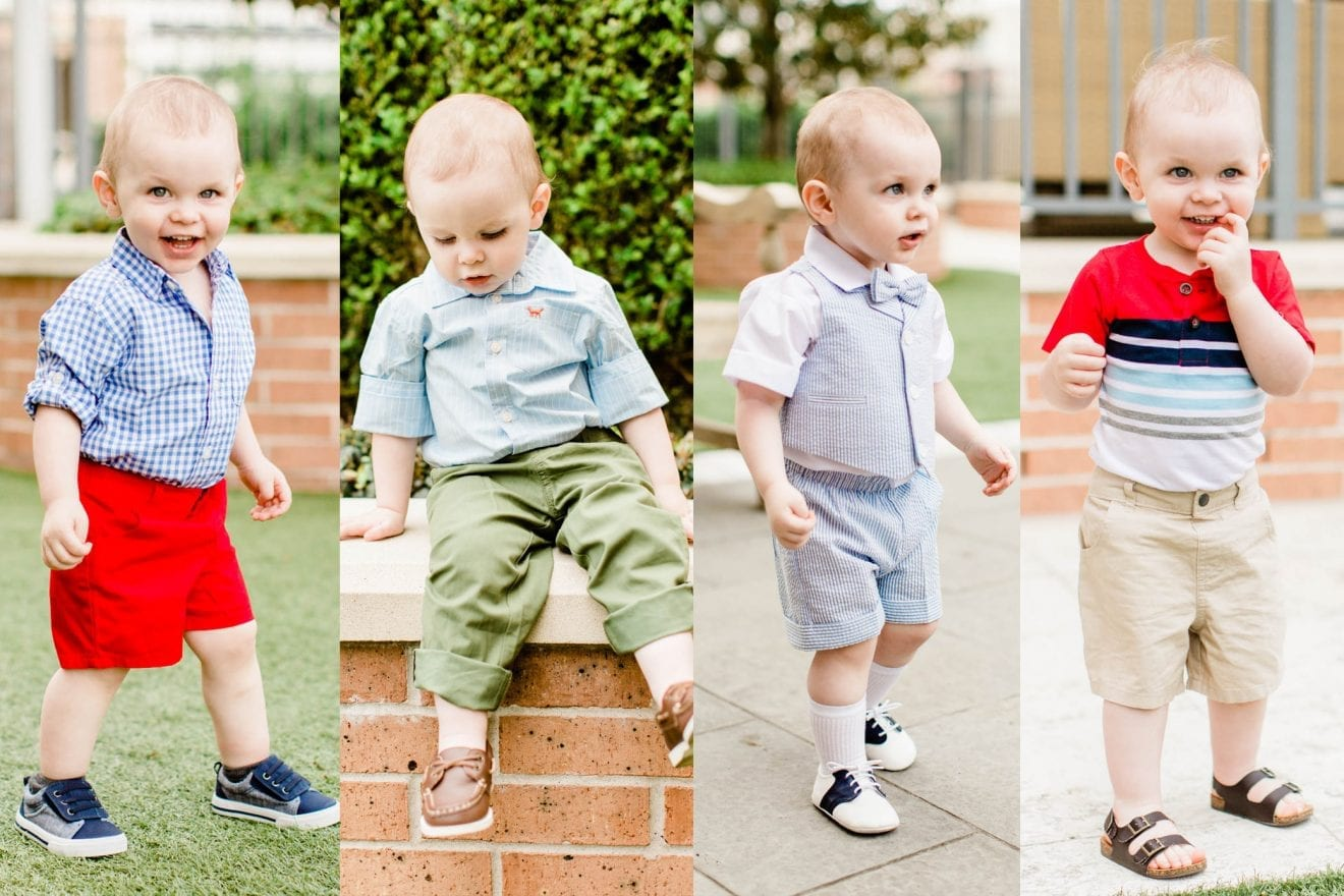 Toddler boy dressing in different spring and summer outfits from the We Dress America campaign from Walmart
