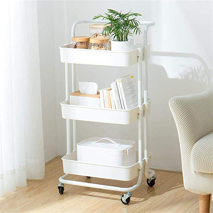 three-tier rolling cart