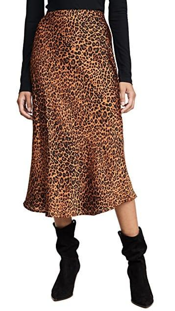 Slip Midi Leopard Skirt