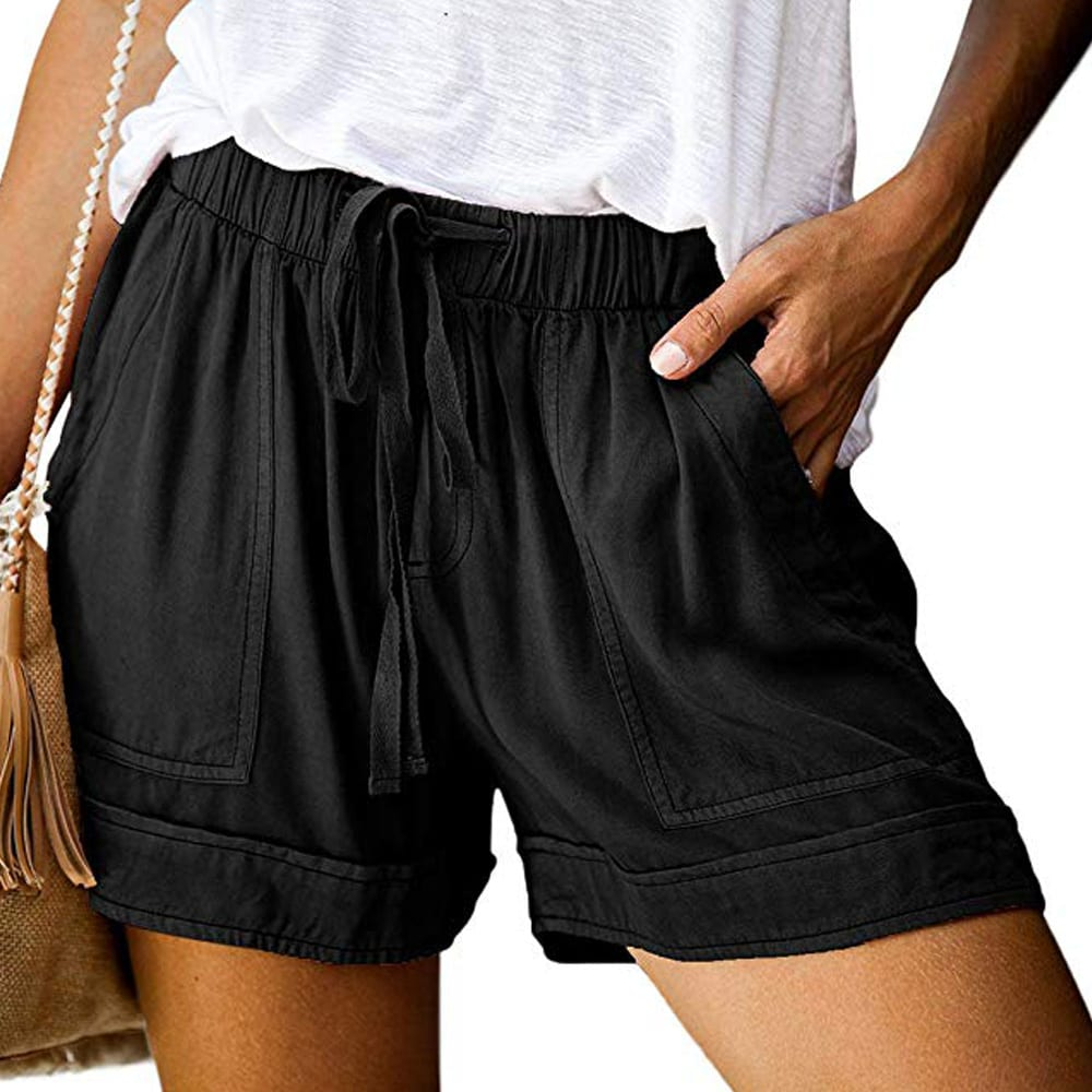 Dokotoo Womens Comfy Drawstring Casual Elastic Waist Pocketed Shorts