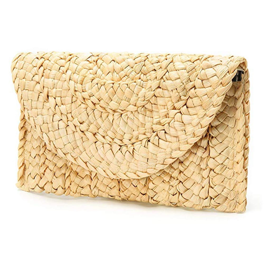 Obosoyo Women's Straw Clutch Handbag Straw Purse Envelope Bag Wallet Summer Beach Bag Woven Bag Purse Wallet