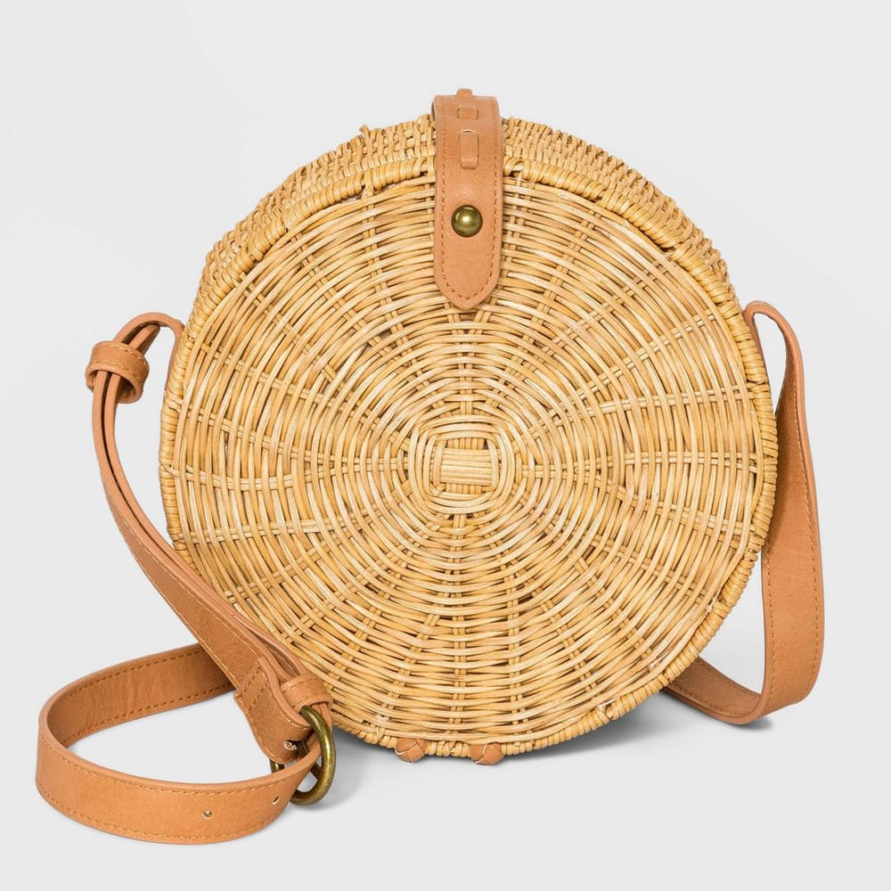 Straw Rattan Circle Crossbody Bag - Universal Thread™ Natural