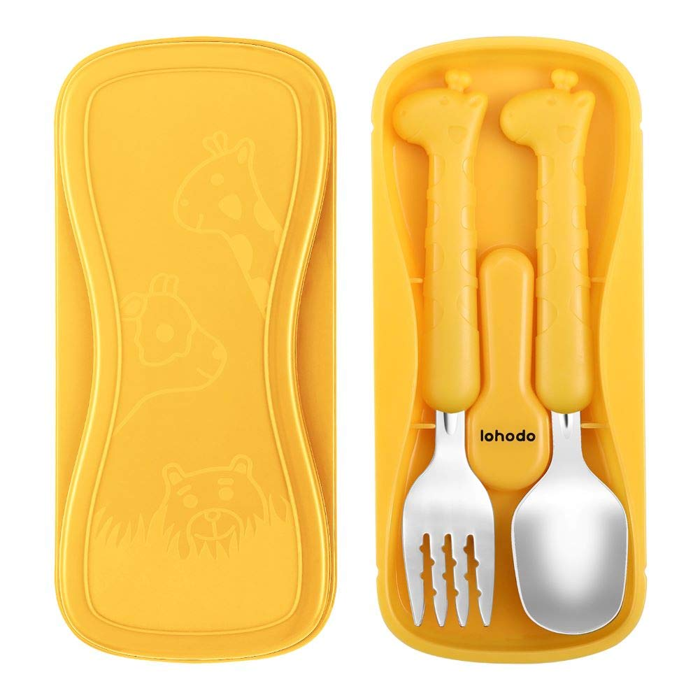 Toddler Utensils Kids Silverware 18/8 Stainless Steel Baby Spoon and Fork Set for Self Feeding Learning BPA Free Cute Giraffe Flatware for Child with Travel Case for Age 3+