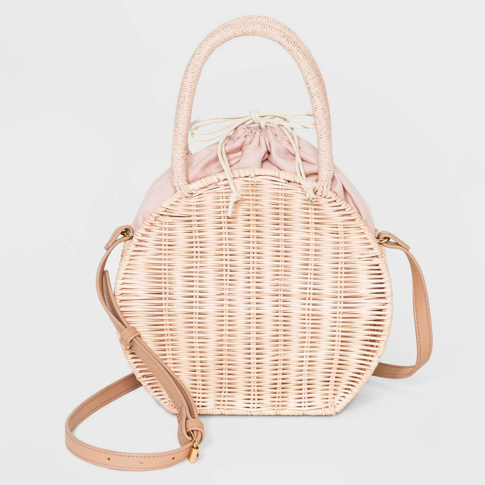 Rattan Circle Crossbody Bag - A New Day™ Blush