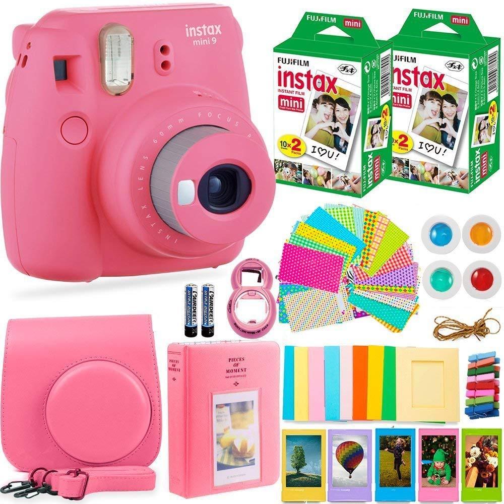 FujiFilm Instax Mini 9 Instant Camera + Fuji Instax Film (40 Sheets) + Accessories Bundle