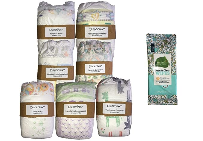 DiaperPax Diaper Variety Sampler Set, 7 Brands to Try in Ready-to-Wrap Gift Box (Size 1)