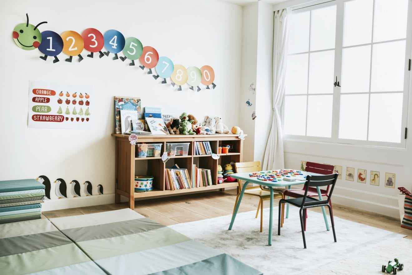 Clean and organized playroom.