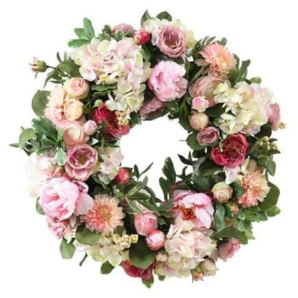 Faux Garden Flowers Wreath