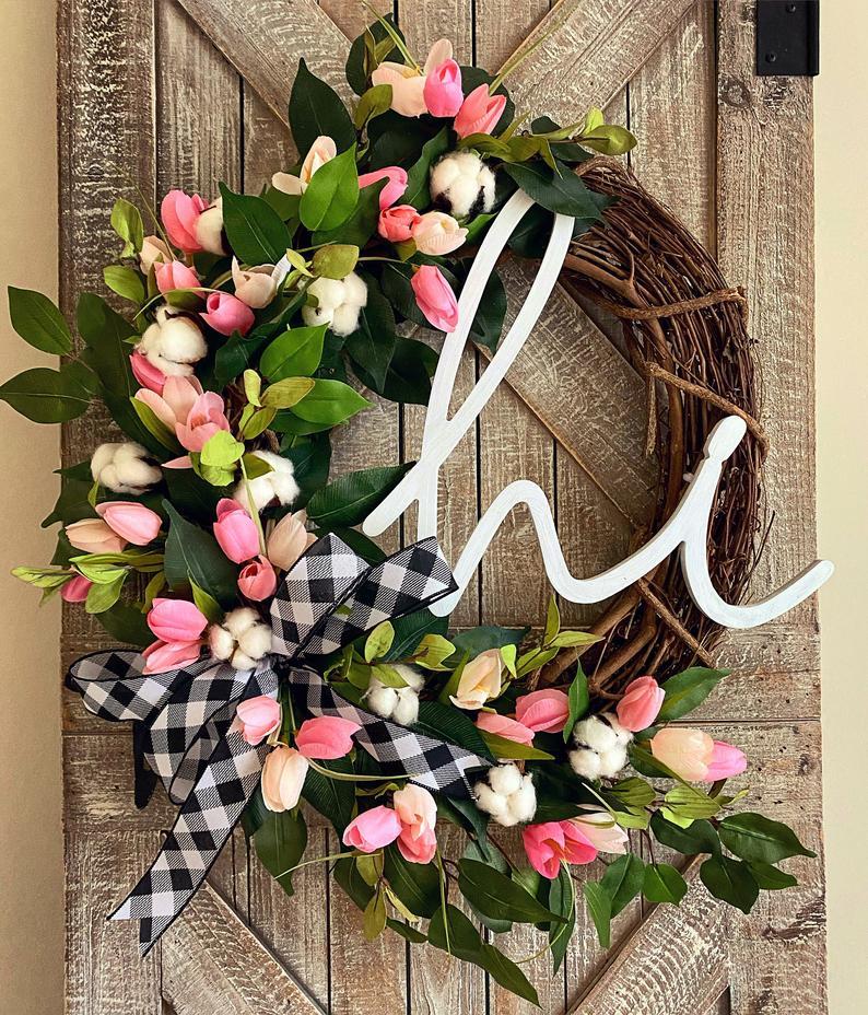 Spring Wreath for Front Door, Buffalo Check Decor, Cotton Front Door Wreath, Tulip Wreath for Front Door, Spring Decorations, Easter Wreath
