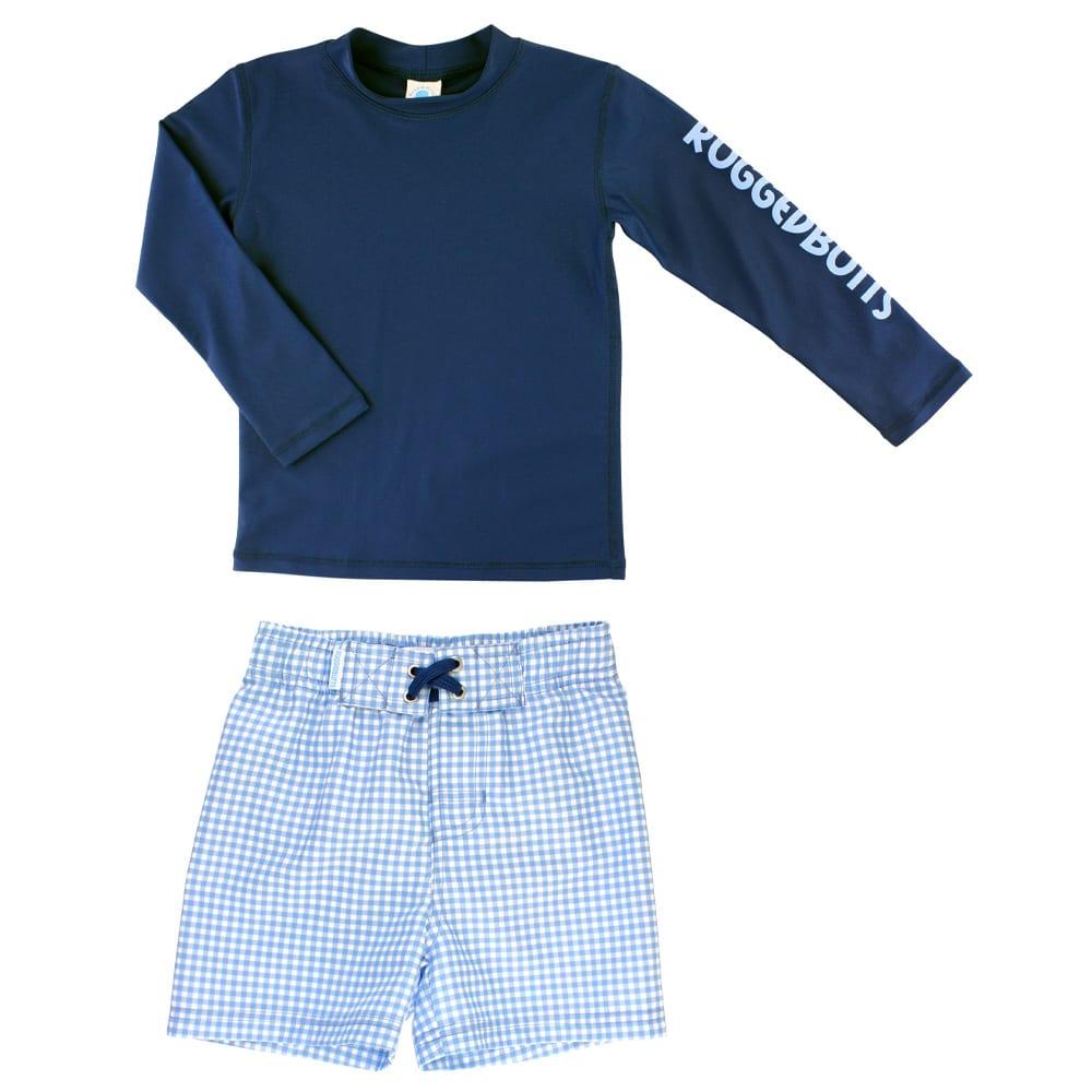 Long Sleeve Rashguard & Gingham Board Shorts Set RUGGEDBUTTS