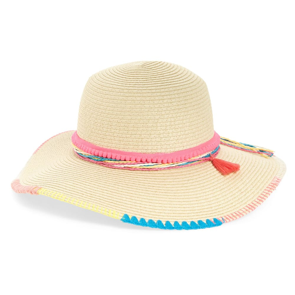 TUCKER + TATE Tassel Trim Woven Sun Hat, Main, color, BEIGE LINEN MULTI DETAILS & CARE Colorful embroidered trim, frilly tassels and fun pompoms playfully detail a woven hat that will help shield your young outdoor lover from the sun's harsh rays. 100% paper Imported Kids' Wear Item #5963183 Free Shipping & Returns See more Tassel Trim Woven Sun Hat TUCKER + TATE