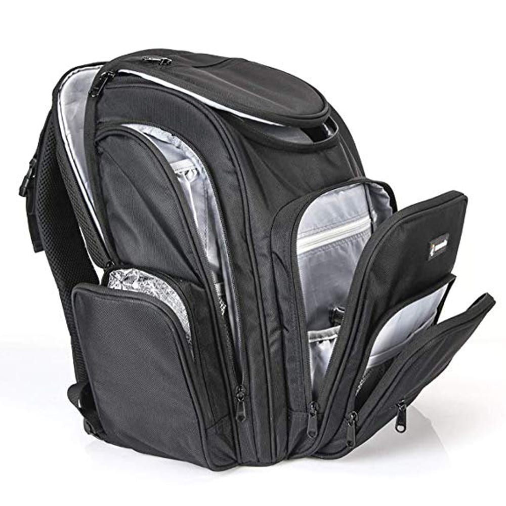 Moondo Parent Backpack- The Perfect Combination of a Travel, Laptop & Diaper Bag Backpack- Designed To Make Airport Travel With Kids Easier and More Functional- Black
