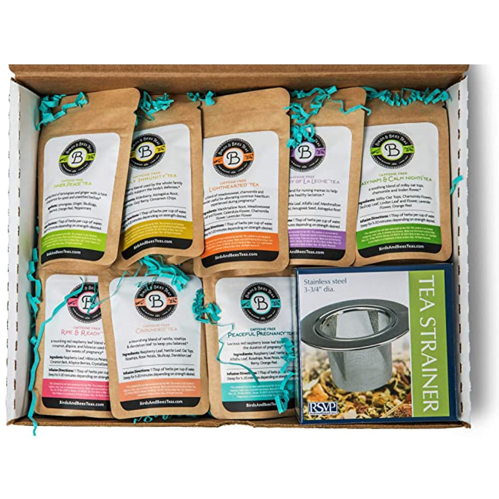 Birds & Bees Teas - Pregnancy Tea Sampler Set, Perfect Pregnancy Gift for Women and Pregnant Mom Gift for First Time Moms or Pregnancy Announcement Gift - 9 Teas with 5 Servings Each