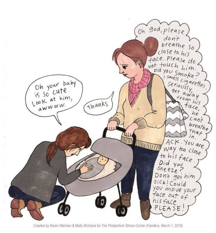Postpartum Stress illustration of a woman touching another woman's baby.