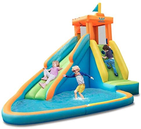 Jungle Co. Blow up Water Slides for Backyard- Water Bounce House with Slide- Inflatable waterslide for Kids