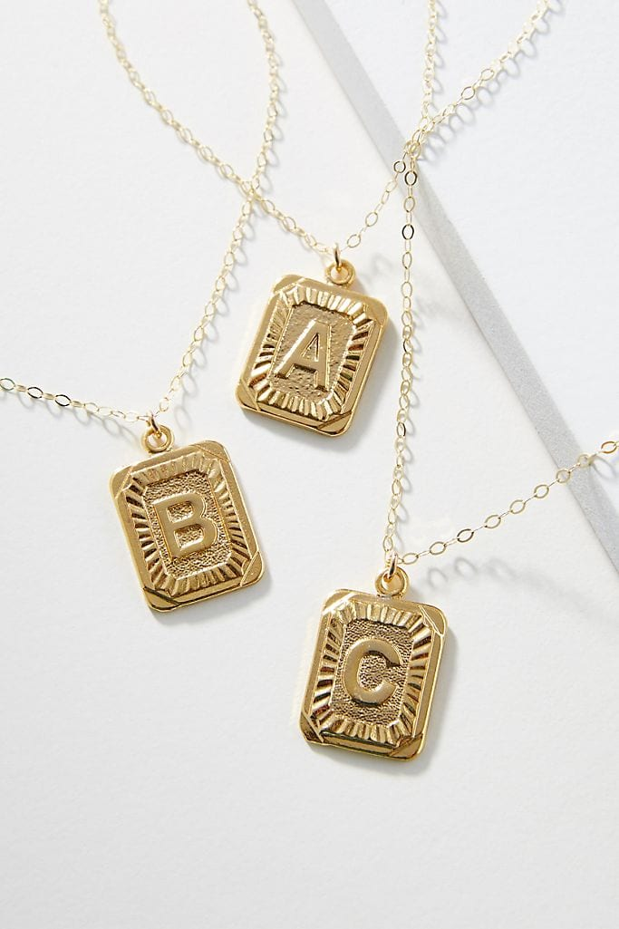 Monogram pendant necklace from Anthropologie
