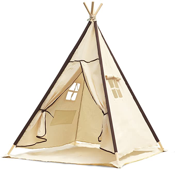 Lavievert Indian Canvas Teepee Children Playhouse Kids Play Tent for Indoor or Outdoor Play