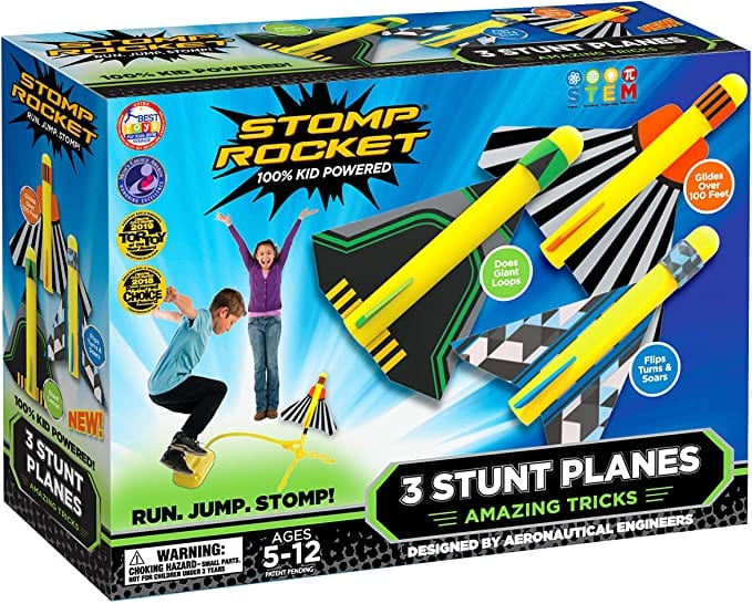 Stomp Rocket Stunt Planes - 3 Foam Plane Toys for Boys and Girls