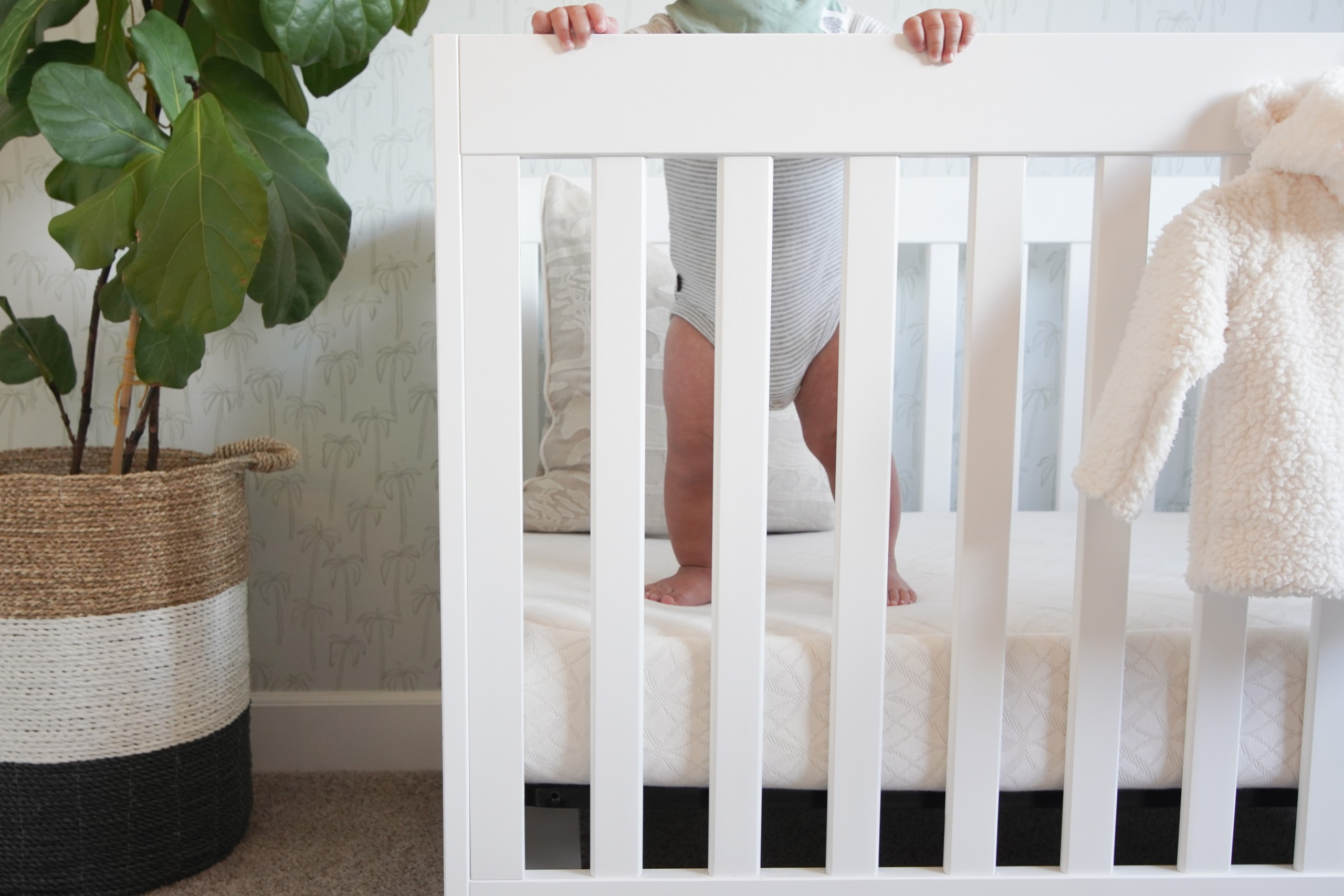Cropped image of baby standing in crib.