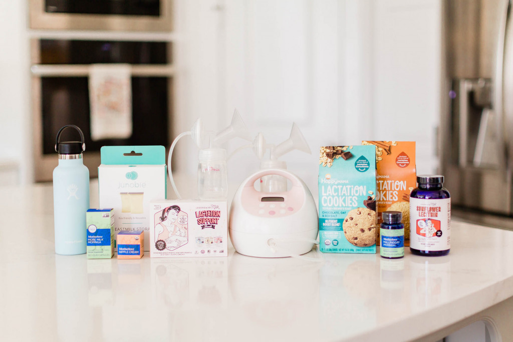 Breastfeeding products on a kitchen counter.