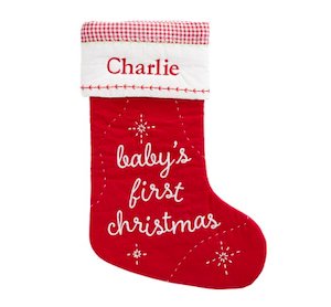 Pottery Barn Baby's First Christmas Quilted Stocking