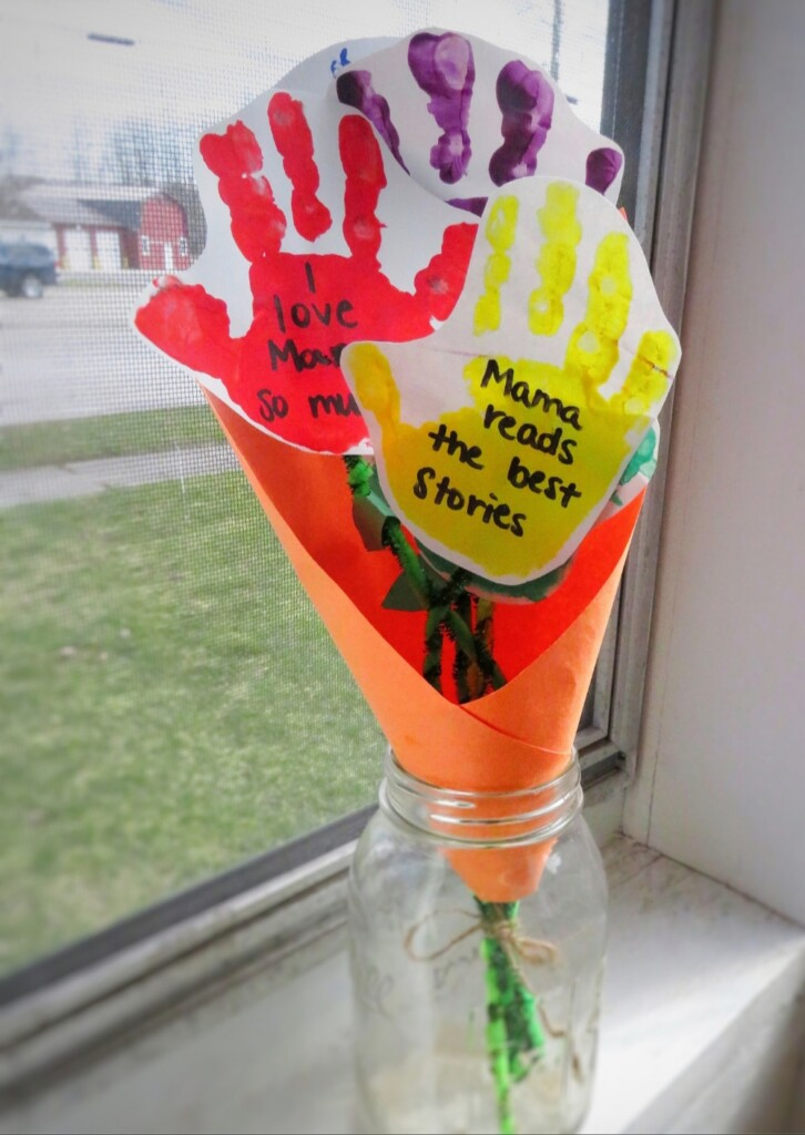 Mother's Day Handprint Flower Bouquet Craft