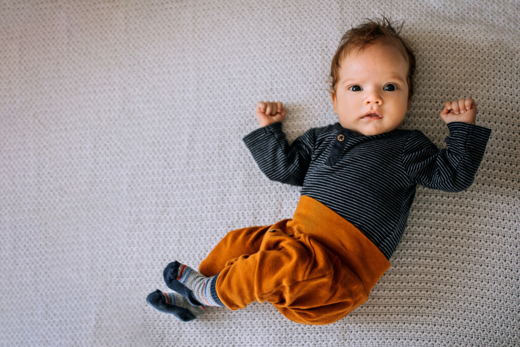 Portrait of adorable two month old baby boy