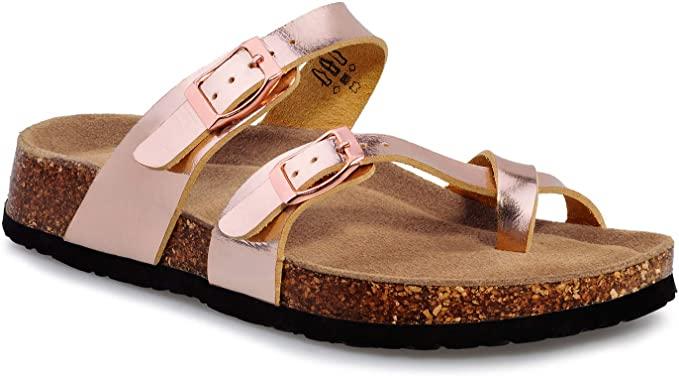 shoeslocker Bayan Slaytlar Sandalet Açık Burun Düz Mantar Ayaklı Sandalet