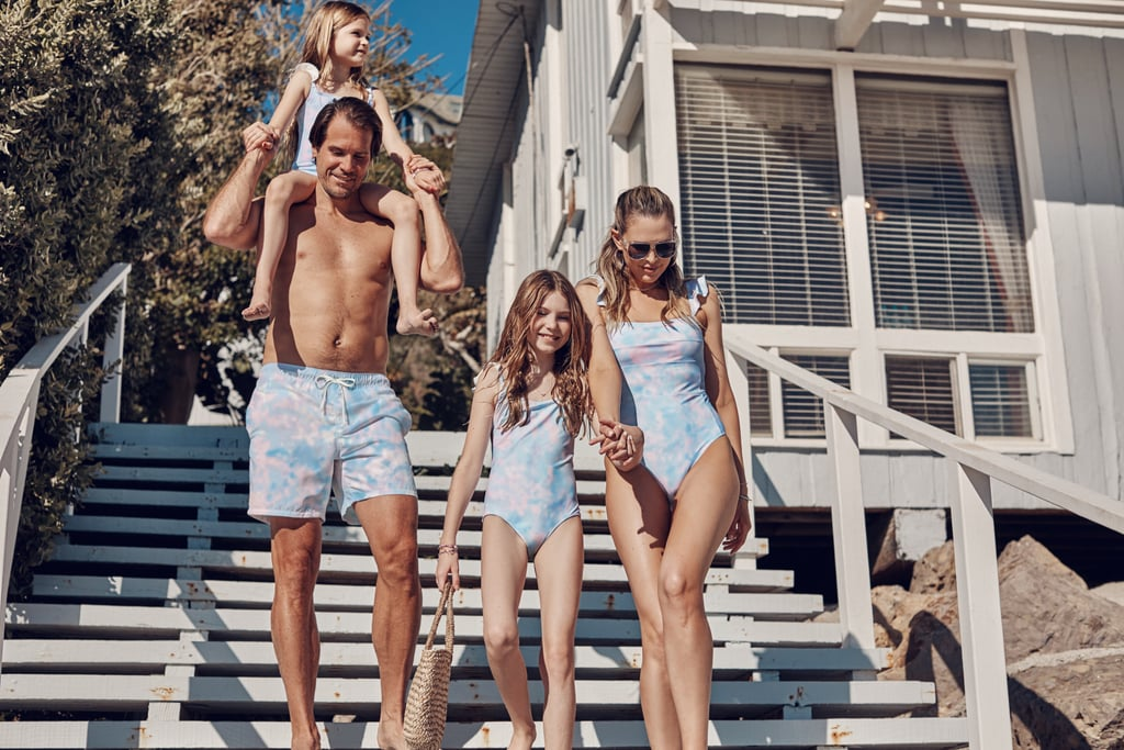 Family wearing the Summersalt Ruffle Oasis Family swimsuits
