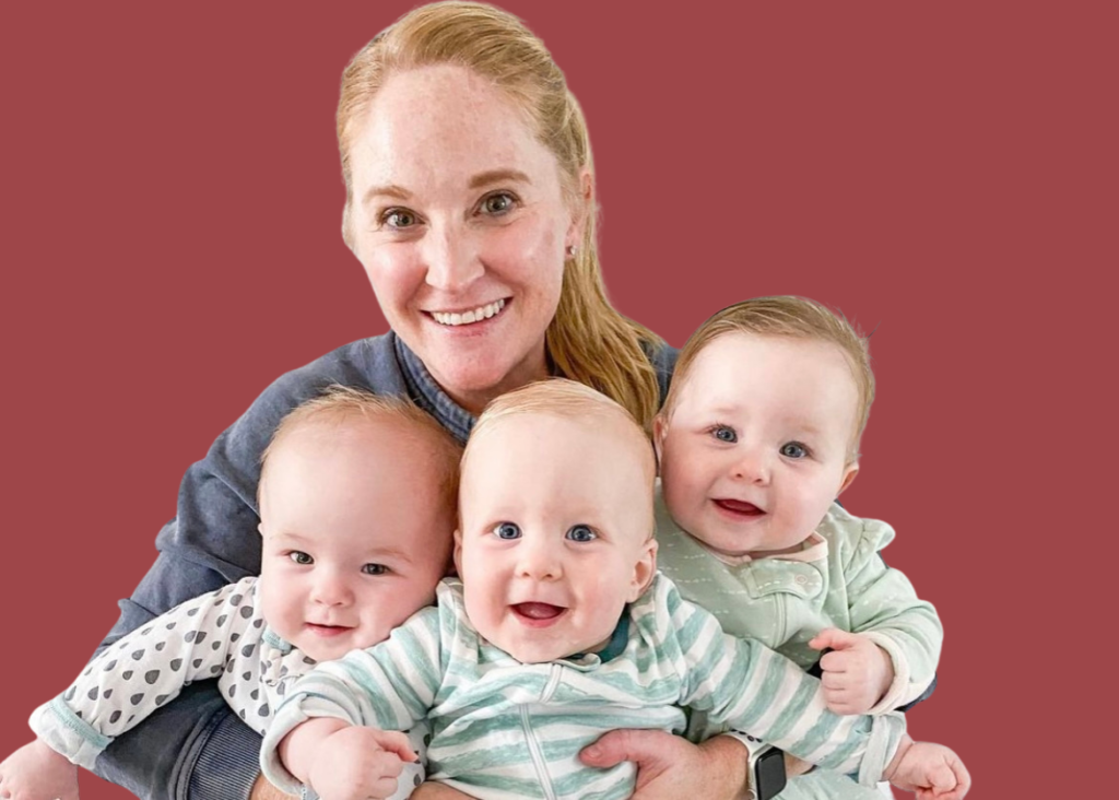 Brittany Werth, mom of triplets, holding her three babies.