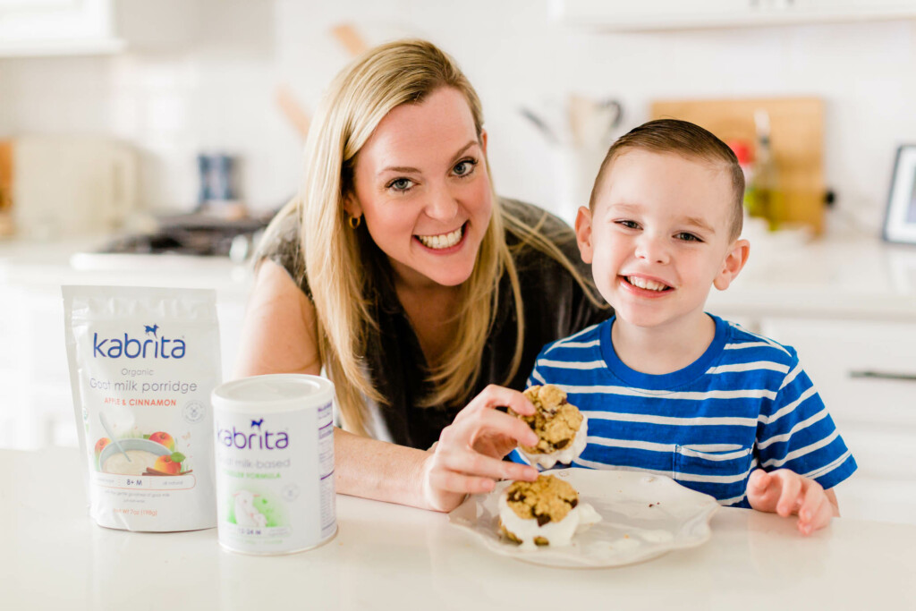 Mom and son making ice cream sandwiches with Kabrita food products.