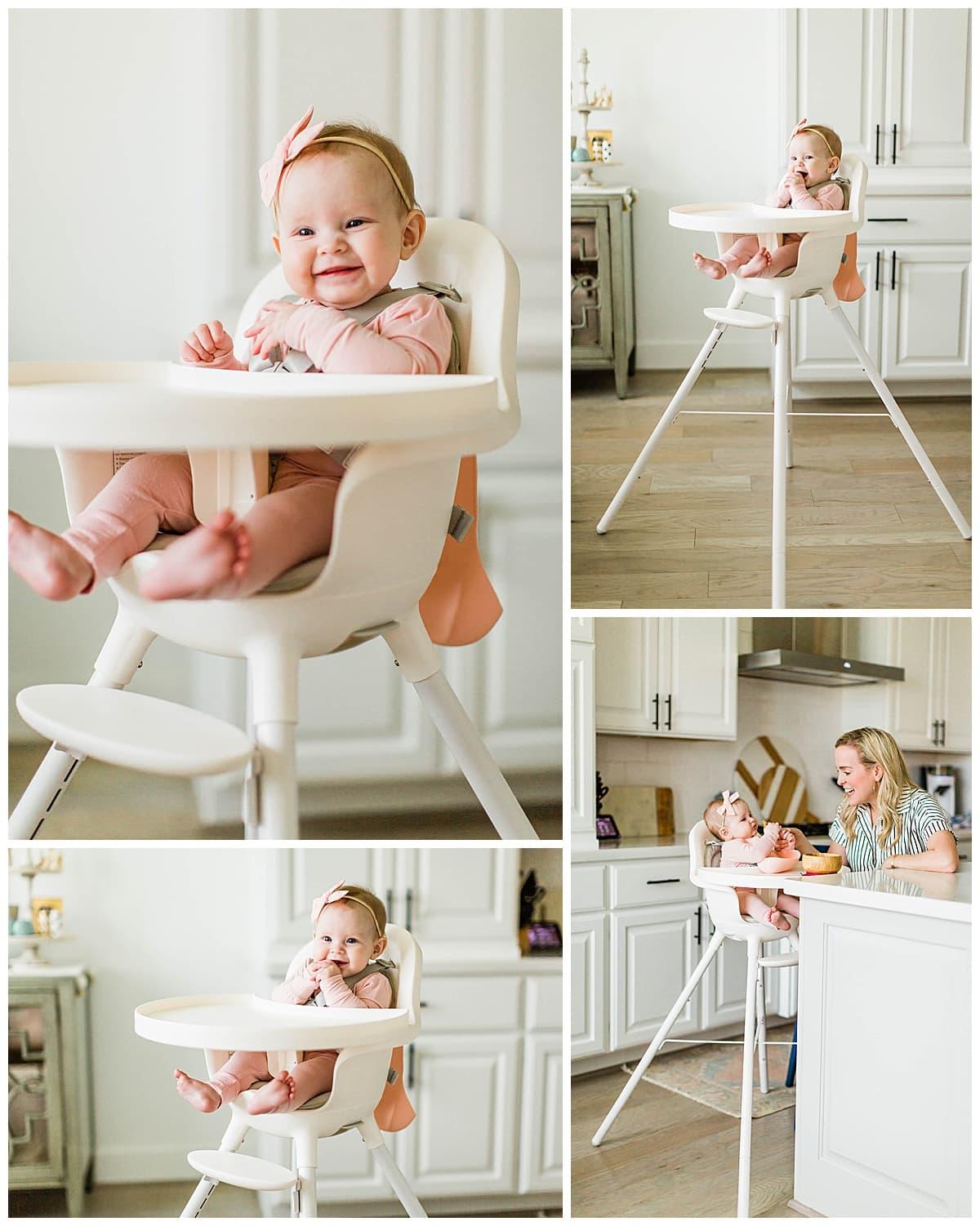 Babymeisje in Boon Grub kinderstoel.
