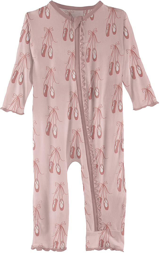 KicKee Pants Print Muffin Ruffle Coverall with Zipper, Comfortable Baby Clothes