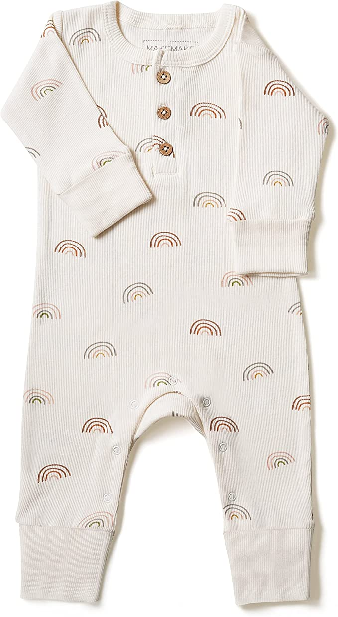 Makemake Organics Organic Cotton Baby Clothes Romper Mittens Pajamas Footies In Neutral Color