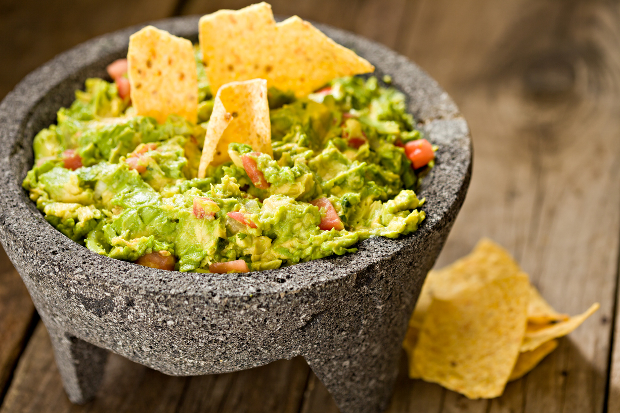 The sweetness of the sweet guacamole in Mexico molcajete as well as corn-sweetened chips.